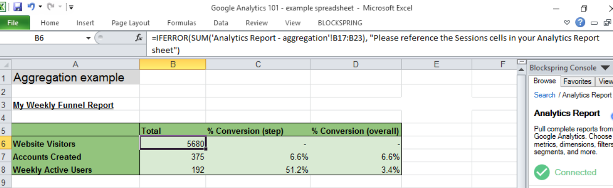 Excel basic reporting aggregation