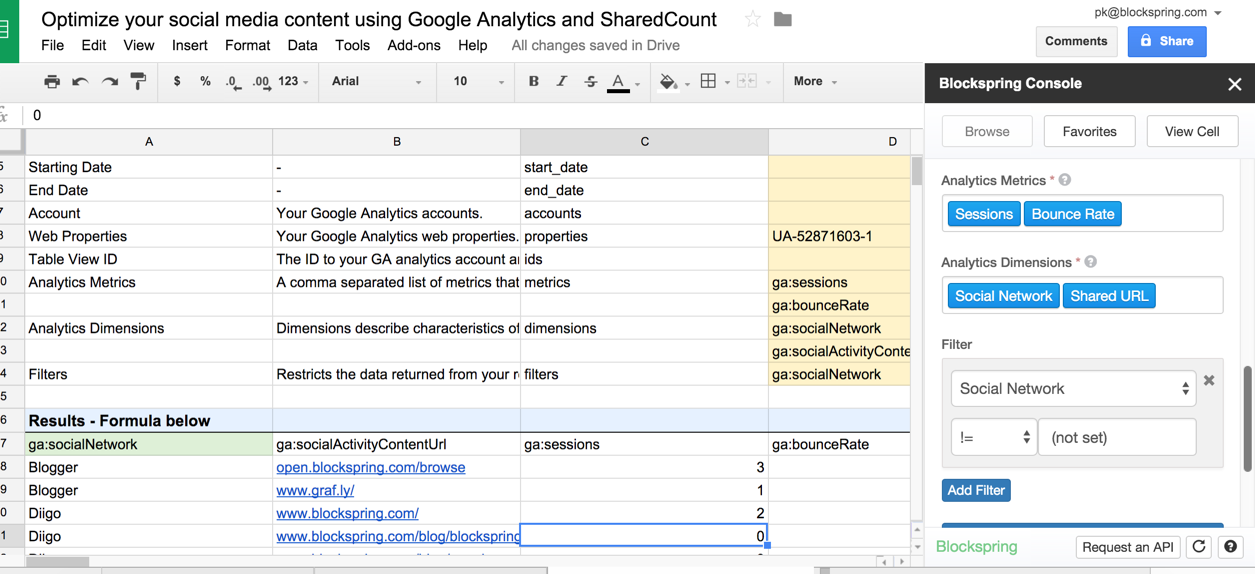 Social Media Insights with Google Analytics and Blockspring